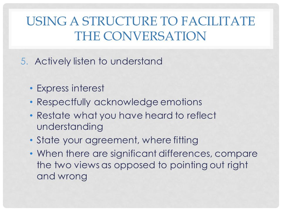 USING A STRUCTURE TO FACILITATE THE CONVERSATION 5.Actively listen to understand Express interest Respectfully acknowledge emotions Restate what you h