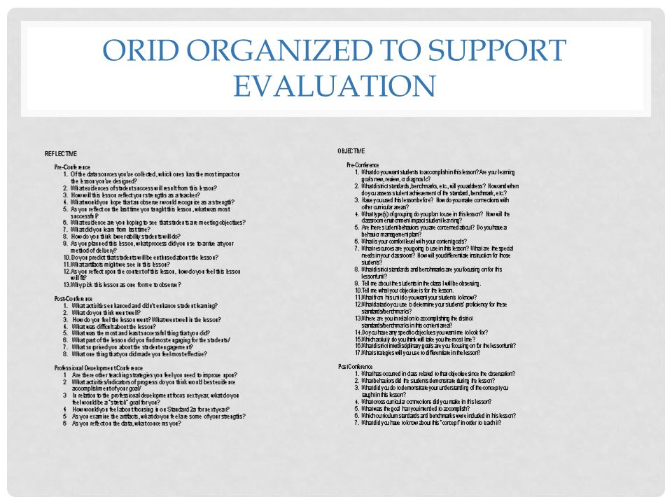 ORID ORGANIZED TO SUPPORT EVALUATION