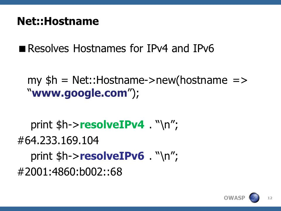 "OWASP Net::Hostname  Resolves Hostnames for IPv4 and IPv6 my $h = Net::Hostname->new(hostname => ""www.google.com""); print $h->resolveIPv4. ""\n""; #64."