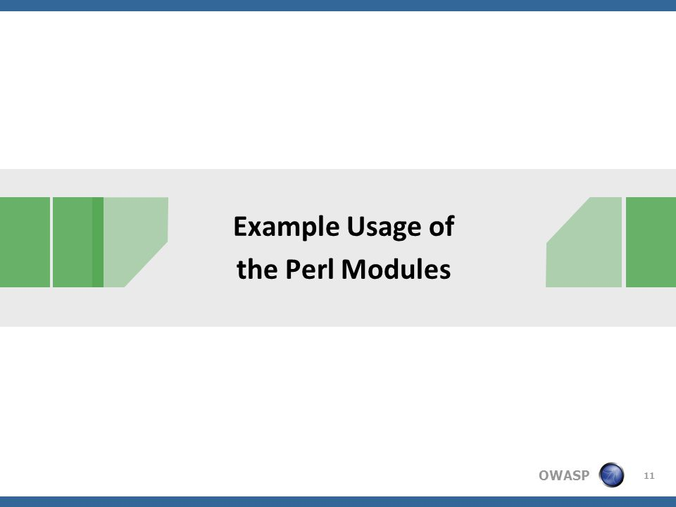 OWASP Example Usage of the Perl Modules 11