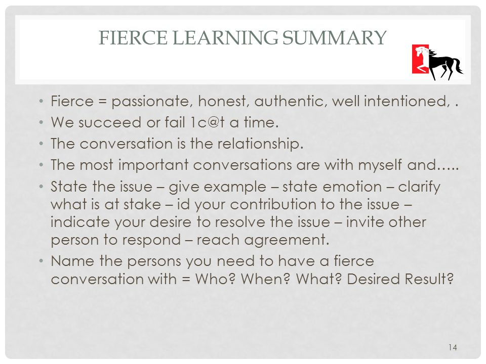 FIERCE LEARNING SUMMARY Fierce = passionate, honest, authentic, well intentioned,.