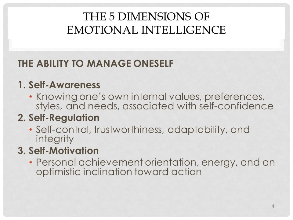 THE 5 DIMENSIONS OF EMOTIONAL INTELLIGENCE 4 THE ABILITY TO MANAGE ONESELF 1.