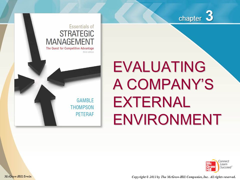 3 chapter EVALUATING A COMPANY'S EXTERNAL ENVIRONMENT Copyright © 2013 by The McGraw-Hill Companies, Inc. All rights reserved. McGraw-Hill/Irwin
