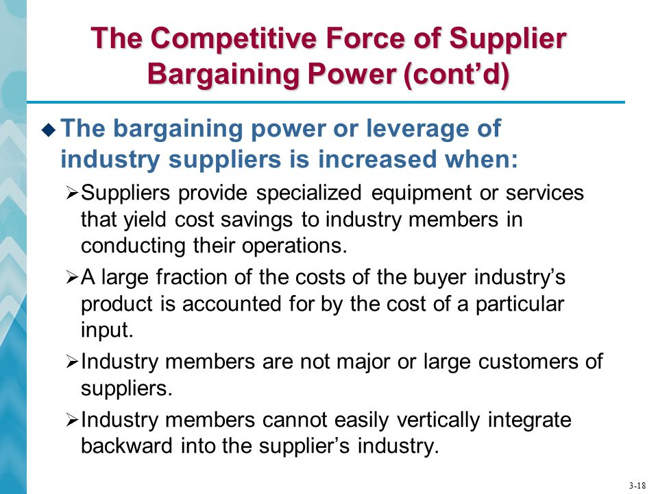 3-18 The Competitive Force of Supplier Bargaining Power (cont'd)  The bargaining power or leverage of industry suppliers is increased when:  Supplie