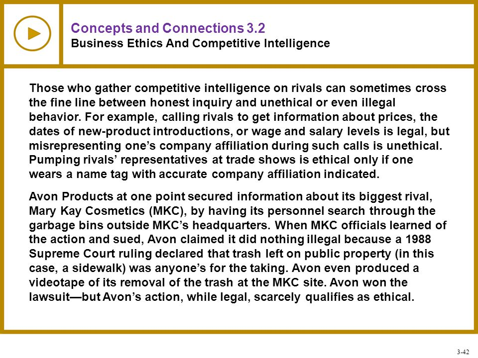 3-42 Concepts and Connections 3.2 Business Ethics And Competitive Intelligence Those who gather competitive intelligence on rivals can sometimes cross
