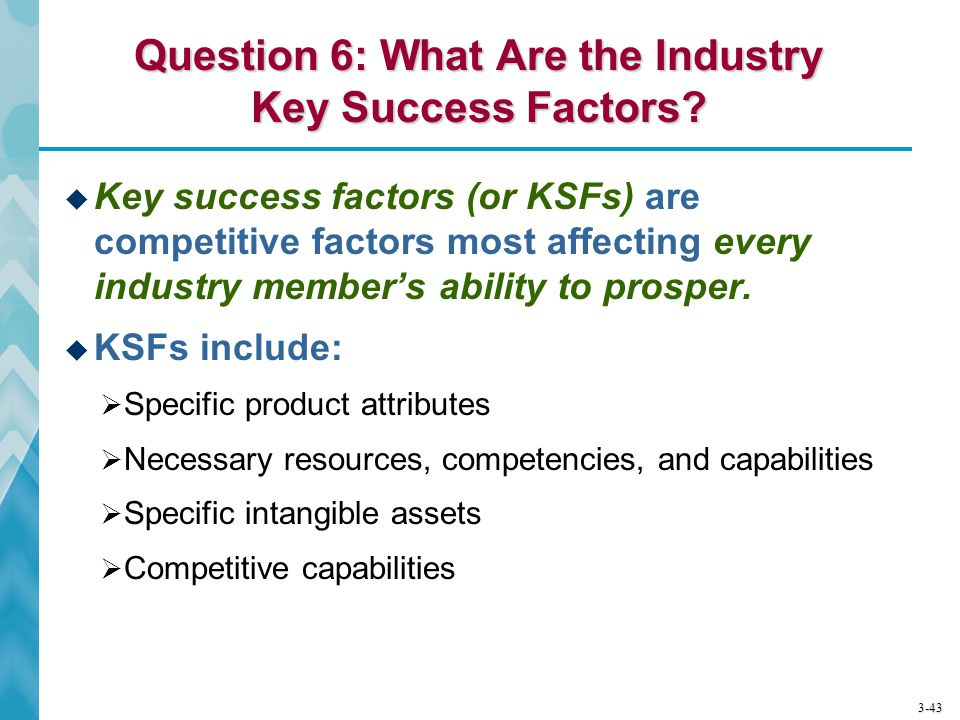 3-43 Question 6: What Are the Industry Key Success Factors?  Key success factors (or KSFs) are competitive factors most affecting every industry memb