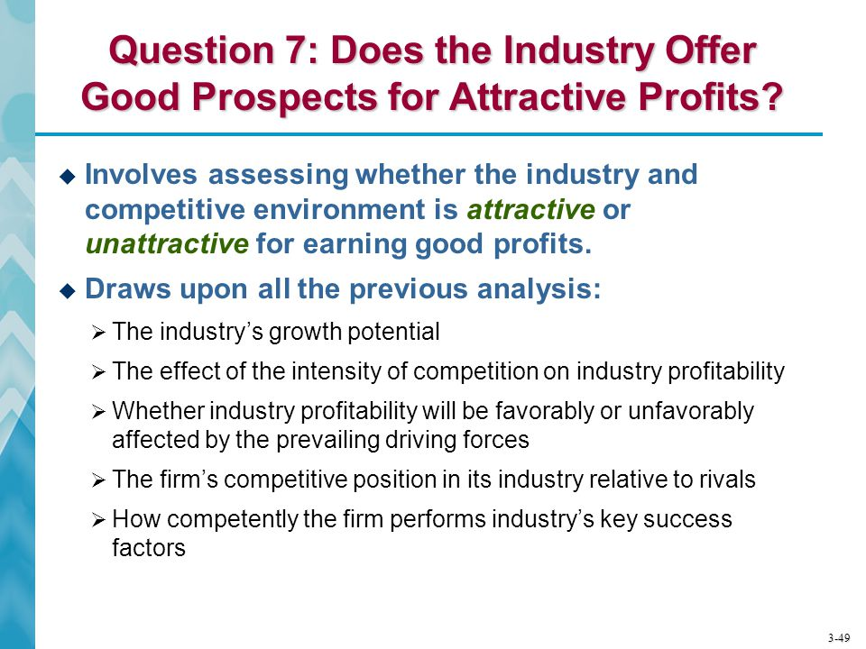 3-49 Question 7: Does the Industry Offer Good Prospects for Attractive Profits?  Involves assessing whether the industry and competitive environment
