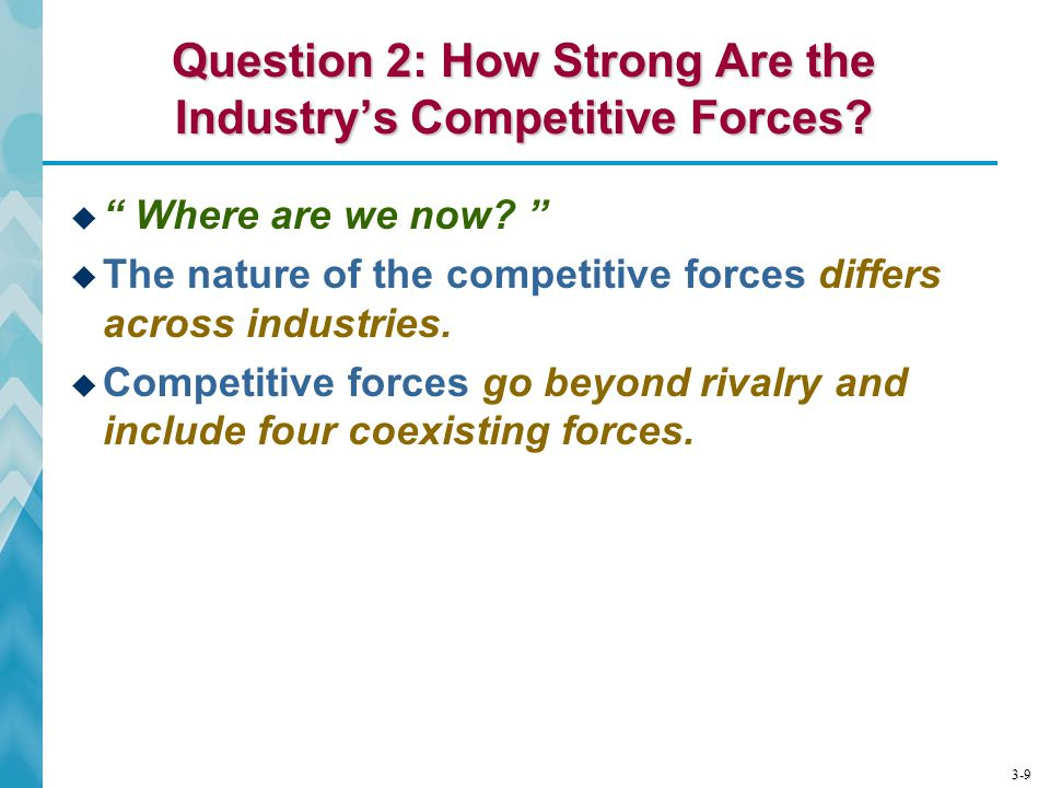 "3-9 Question 2: How Strong Are the Industry's Competitive Forces?  "" Where are we now? ""  The nature of the competitive forces differs across indust"