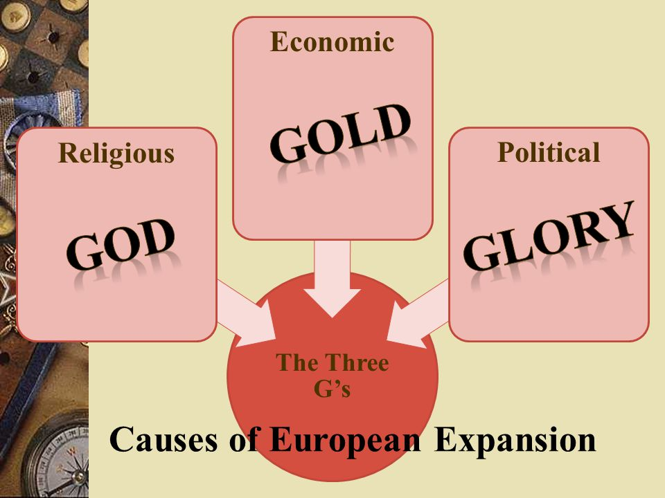The Three G's Religious EconomicPolitical Causes of European Expansion