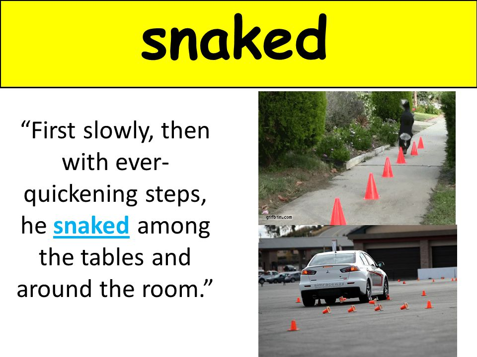 "snaked ""First slowly, then with ever- quickening steps, he snaked among the tables and around the room."""