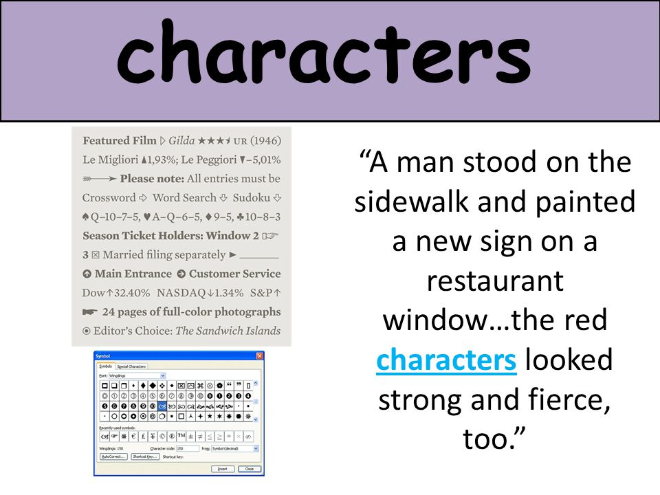 "characters ""A man stood on the sidewalk and painted a new sign on a restaurant window…the red characters looked strong and fierce, too."""