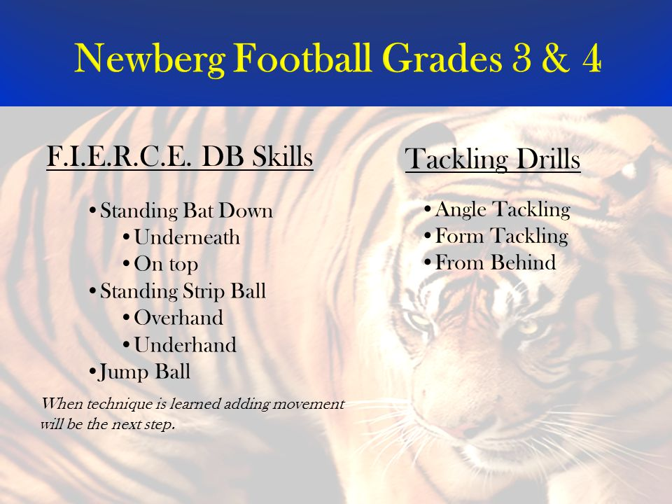 Newberg Football Grades 3 & 4 Standing Bat Down Underneath On top Standing Strip Ball Overhand Underhand Jump Ball Angle Tackling Form Tackling From Behind F.I.E.R.C.E.