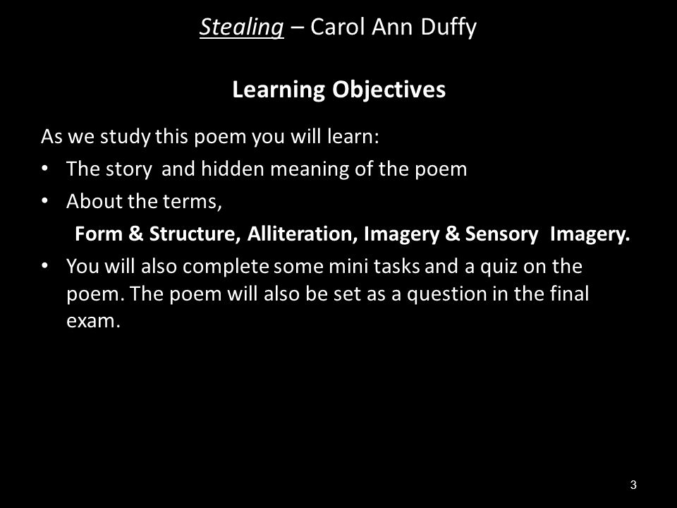 As we study this poem you will learn: The story and hidden meaning of the poem About the terms, Form & Structure, Alliteration, Imagery & Sensory Imagery.