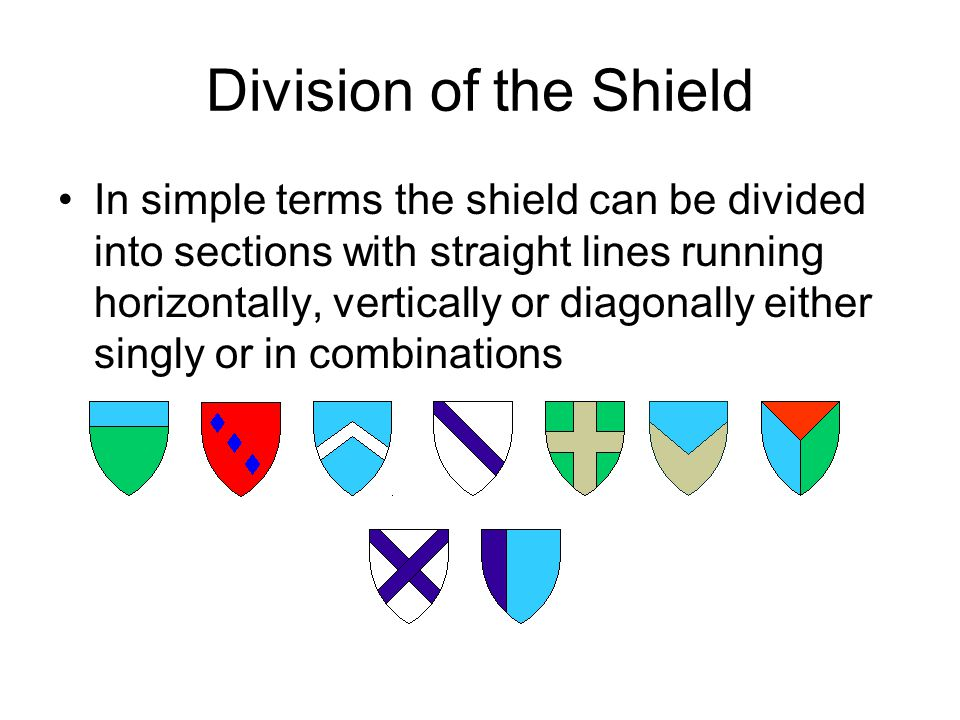 Division of the Shield In simple terms the shield can be divided into sections with straight lines running horizontally, vertically or diagonally either singly or in combinations