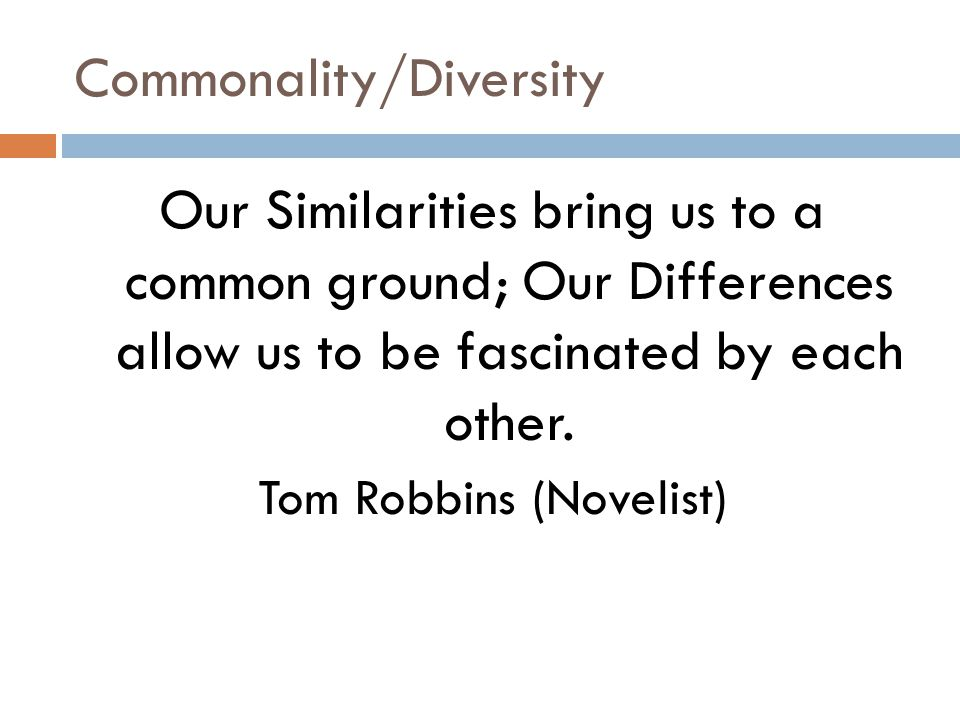 Commonality/Diversity Our Similarities bring us to a common ground; Our Differences allow us to be fascinated by each other.