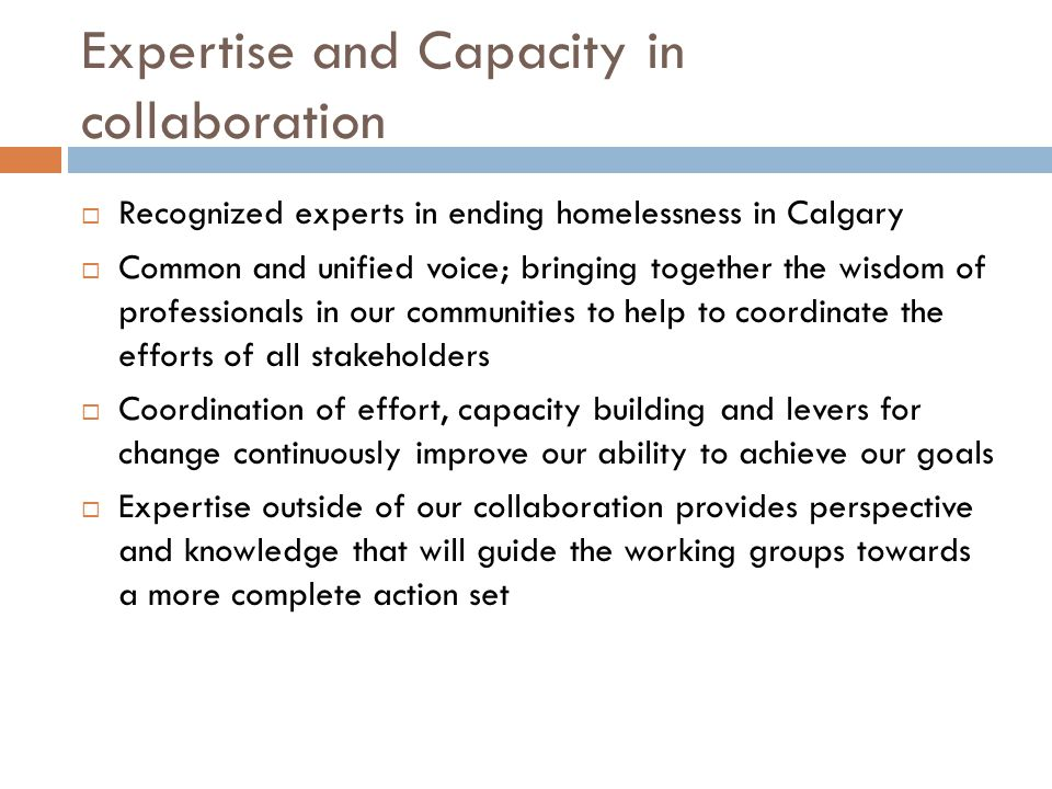 Expertise and Capacity in collaboration  Recognized experts in ending homelessness in Calgary  Common and unified voice; bringing together the wisdom of professionals in our communities to help to coordinate the efforts of all stakeholders  Coordination of effort, capacity building and levers for change continuously improve our ability to achieve our goals  Expertise outside of our collaboration provides perspective and knowledge that will guide the working groups towards a more complete action set