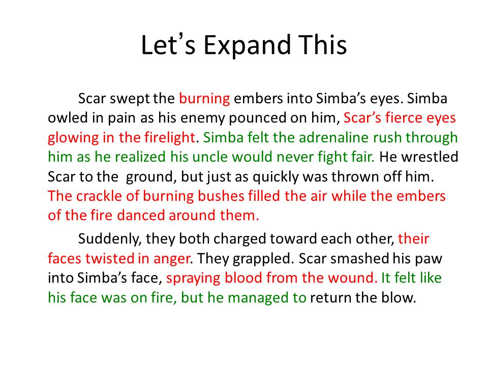 Let's Expand This Scar swept the burning embers into Simba's eyes.
