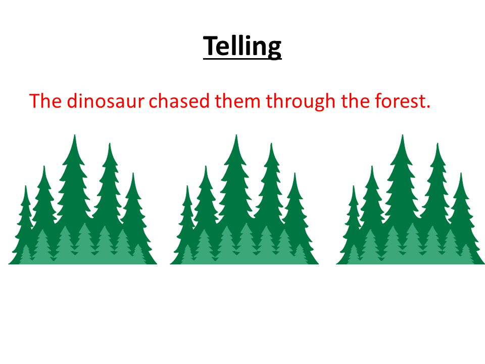 Telling The dinosaur chased them through the forest.