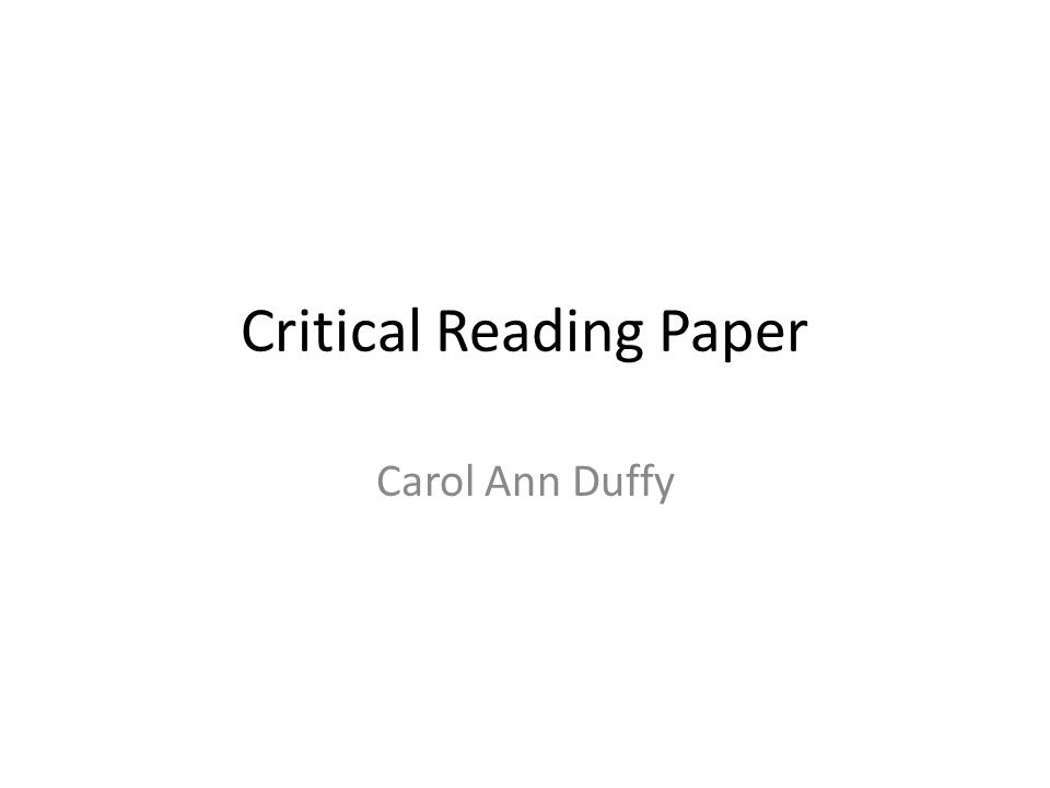 Critical Reading Paper Carol Ann Duffy