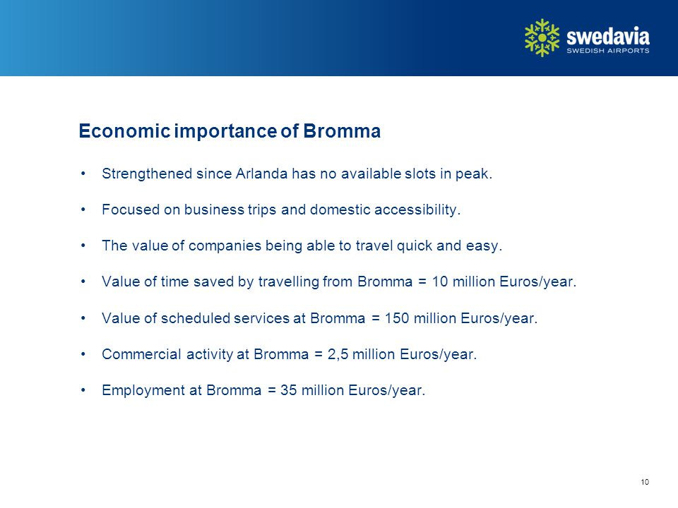 Economic importance of Bromma Strengthened since Arlanda has no available slots in peak.
