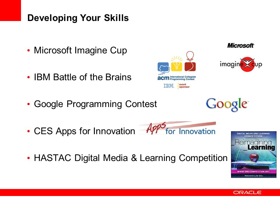 Developing Your Skills Microsoft Imagine Cup IBM Battle of the Brains Google Programming Contest CES Apps for Innovation HASTAC Digital Media & Learni