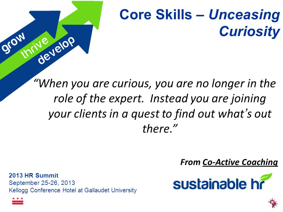 2013 HR Summit September 25-26, 2013 Kellogg Conference Hotel at Gallaudet University Core Skills – Questioning A Paradigm shift occurs when a question is asked inside the current paradigm that can only be answered from outside. Marilee Goldberg The Art of the Question
