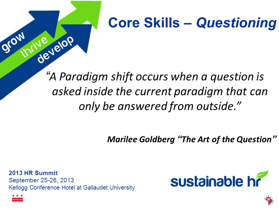 2013 HR Summit September 25-26, 2013 Kellogg Conference Hotel at Gallaudet University Core Skills – Questioning High Power Low Power Why and What if.