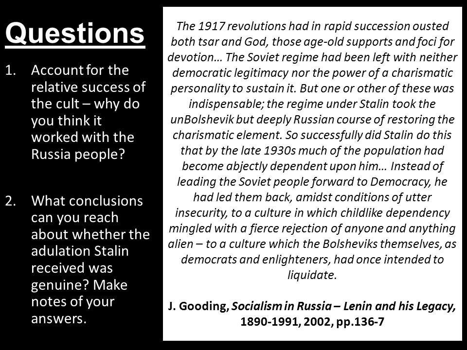 Questions 1.Account for the relative success of the cult – why do you think it worked with the Russia people.