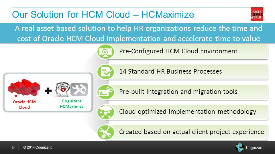 © 2014 Cognizant 9 Our Solution for HCM Cloud – HCMaximize Cognizant HCMaximize Oracle HCM Cloud A real asset based solution to help HR organizations reduce the time and cost of Oracle HCM Cloud implementation and accelerate time to value Pre-Configured HCM Cloud Environment Cloud optimized implementation methodology 14 Standard HR Business Processes Created based on actual client project experience Pre-built Integration and migration tools