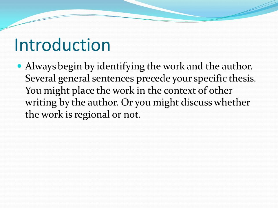 Introduction There are, for instance, many writers who enjoy setting their novels in particular places, such as the south, west, or the northeast.