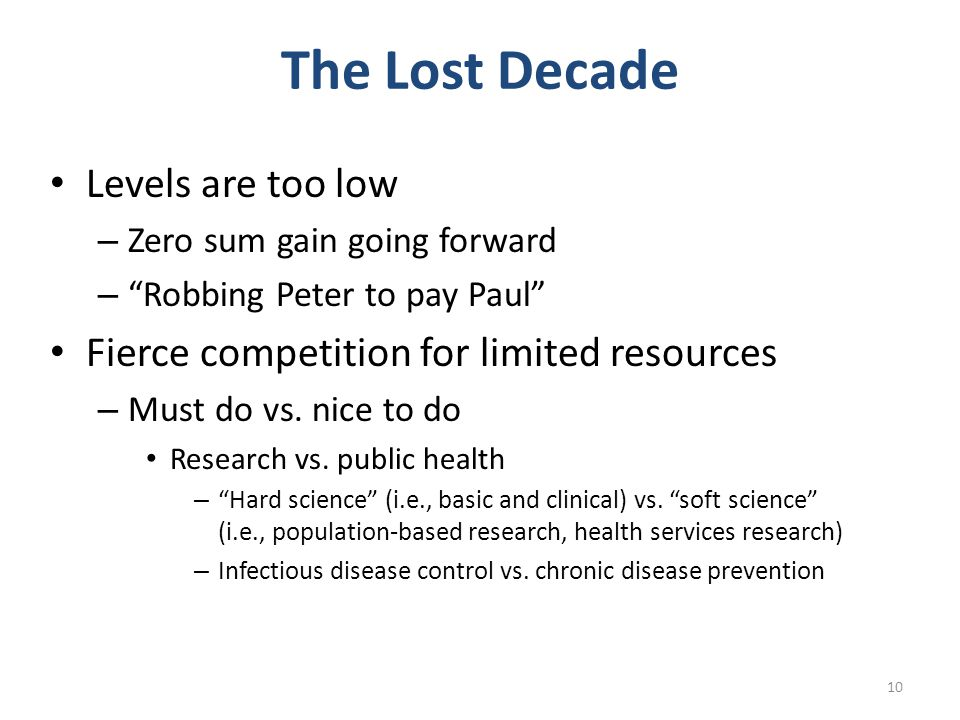 The Lost Decade Levels are too low – Zero sum gain going forward – Robbing Peter to pay Paul Fierce competition for limited resources – Must do vs.