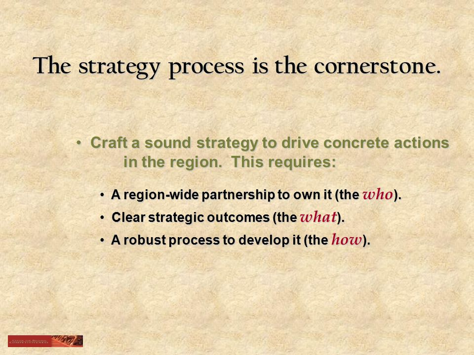 The strategy process is the cornerstone.