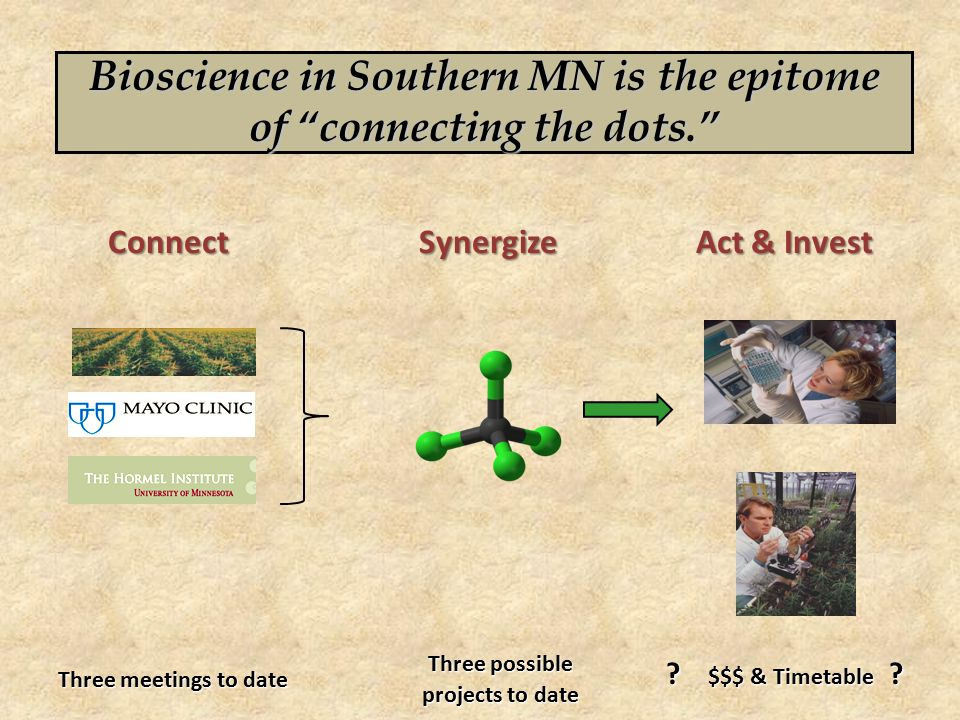 Three meetings to date Bioscience in Southern MN is the epitome of connecting the dots. ConnectSynergize Act & Invest Three possible projects to date .
