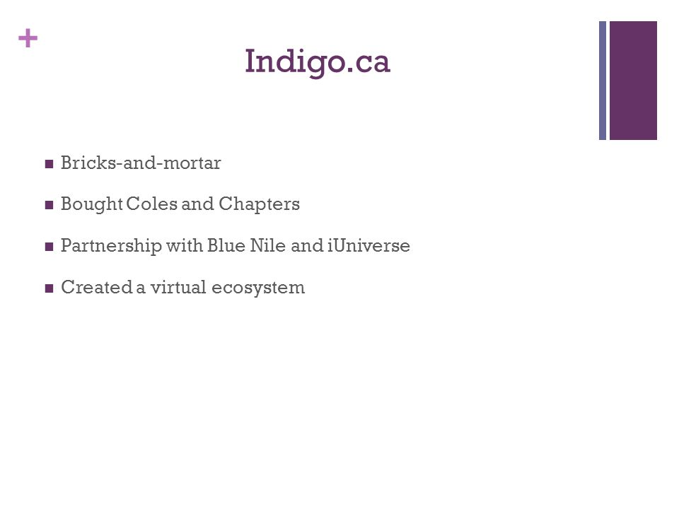 + Indigo.ca Bricks-and-mortar Bought Coles and Chapters Partnership with Blue Nile and iUniverse Created a virtual ecosystem