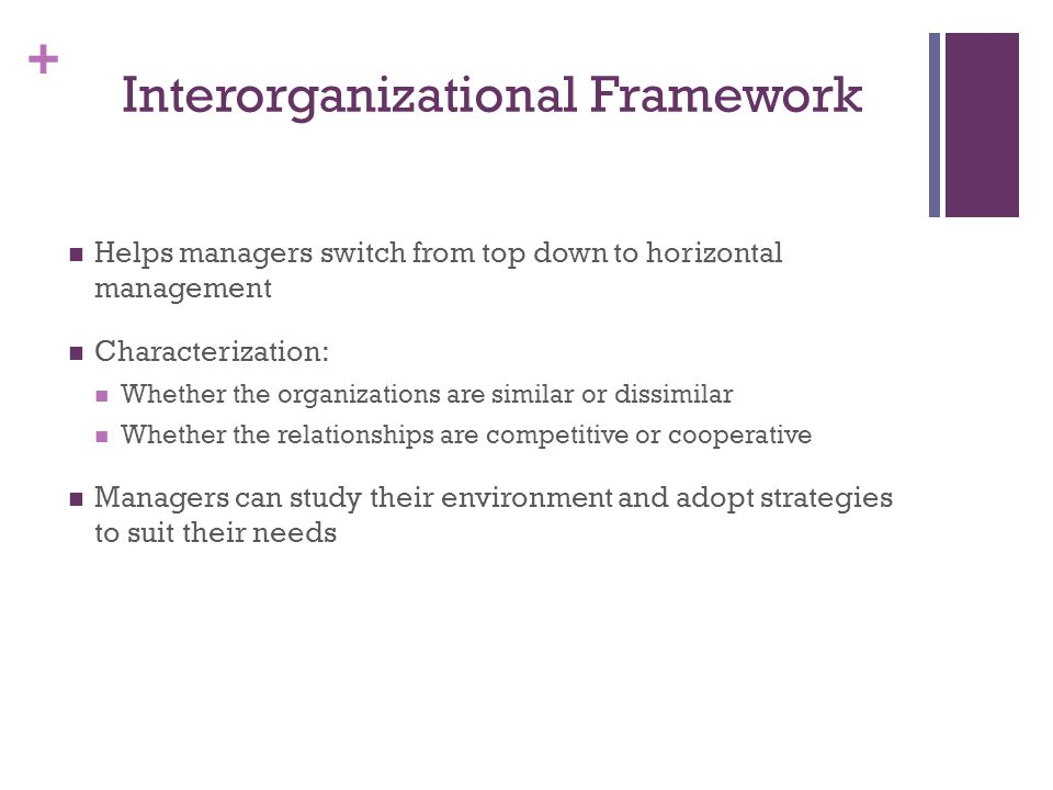 + Interorganizational Framework Helps managers switch from top down to horizontal management Characterization: Whether the organizations are similar or dissimilar Whether the relationships are competitive or cooperative Managers can study their environment and adopt strategies to suit their needs