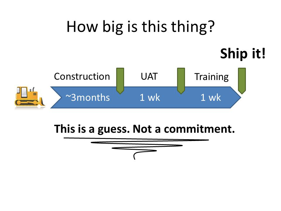 How big is this thing. Ship it. ConstructionUAT Training ~3months 1 wk This is a guess.
