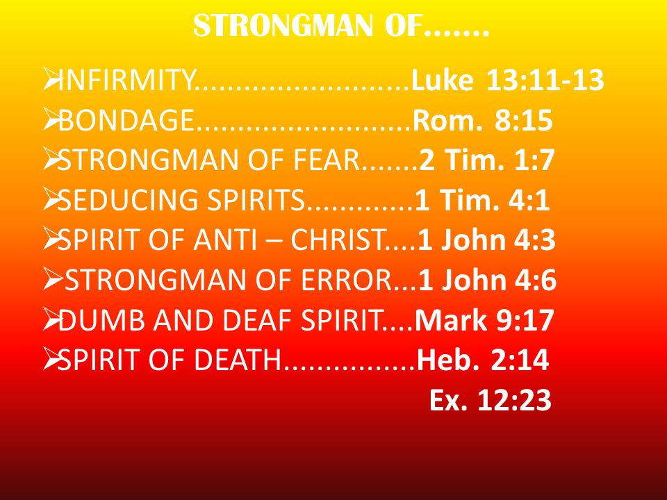 BREAKING / STRONGMAN Admit there is a strongman As the Holy Spirit to reveal the strongman Confess and repent of sins Renounce occult Forgive other people Break soul ties Close open channels /doors Confess you are the Temple Of God Call for Angels of God Taking Authority over Strongmen Be an imitator of Jesus