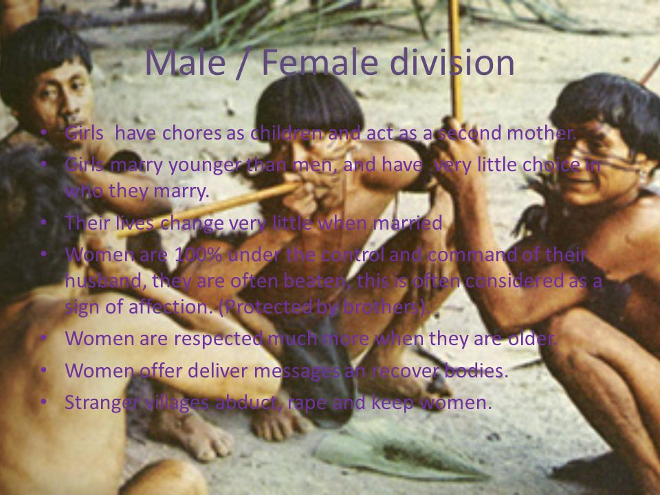 Male / Female division Girls have chores as children and act as a second mother.