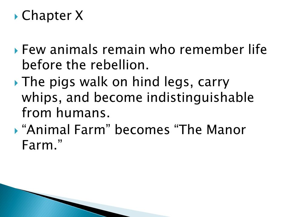  Chapter X  Few animals remain who remember life before the rebellion.  The pigs walk on hind legs, carry whips, and become indistinguishable from