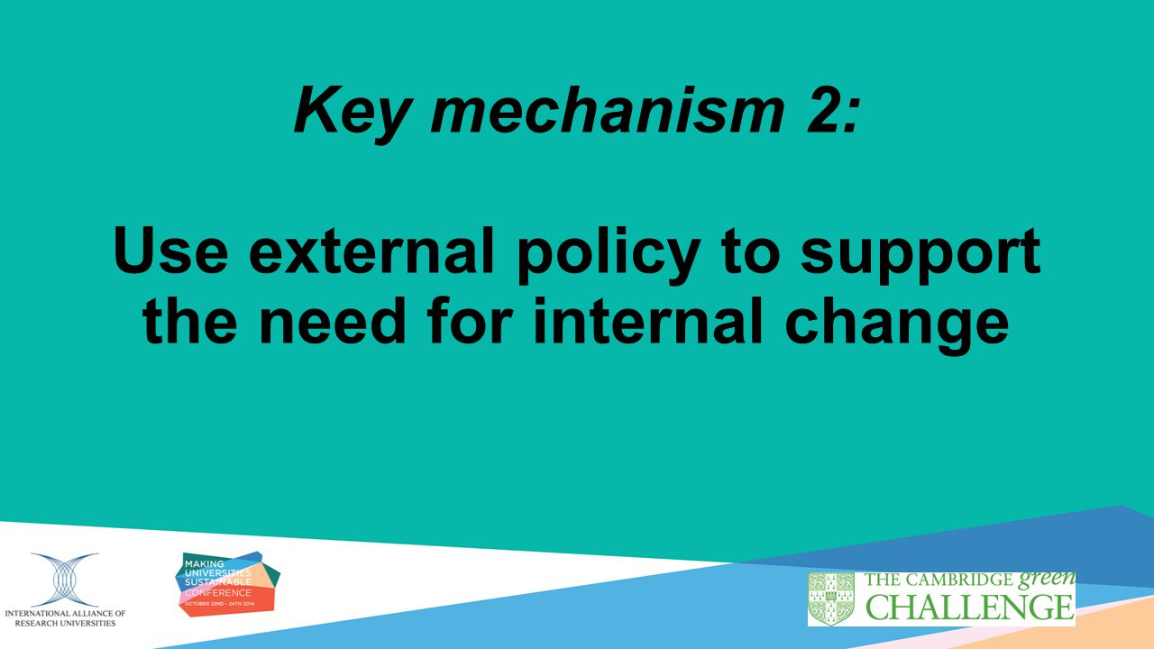 Key mechanism 2: Use external policy to support the need for internal change