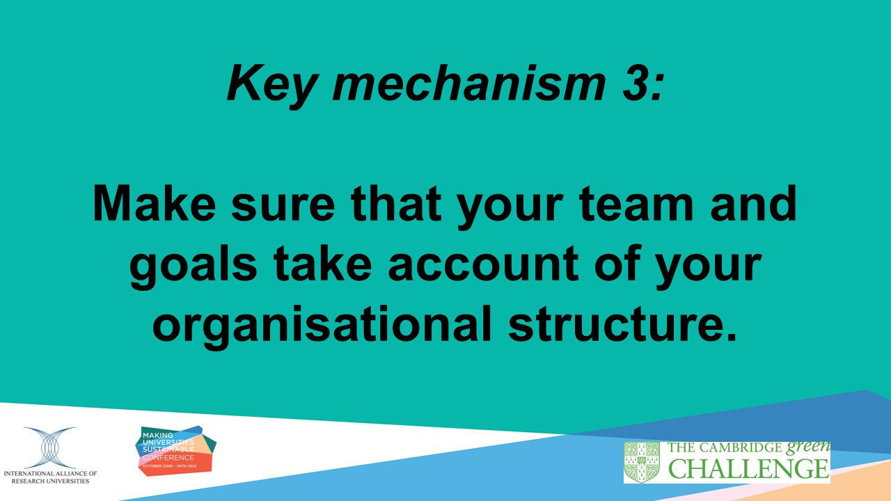 Key mechanism 3: Make sure that your team and goals take account of your organisational structure.