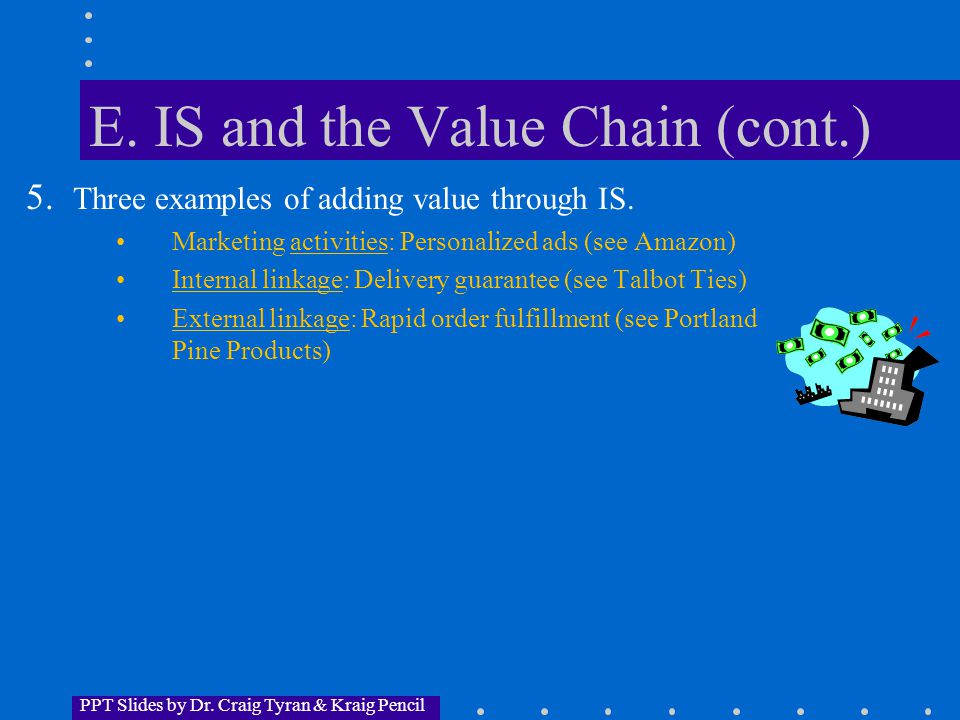 PPT Slides by Dr. Craig Tyran & Kraig Pencil E. IS and the Value Chain (cont.) 5.