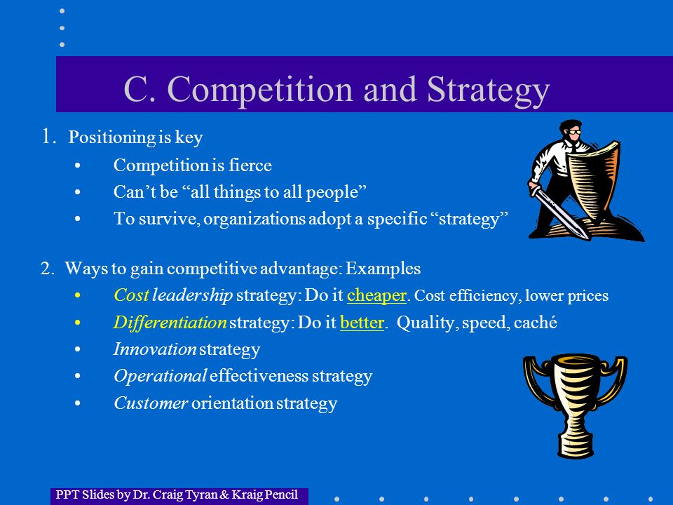 PPT Slides by Dr. Craig Tyran & Kraig Pencil C. Competition and Strategy 1.