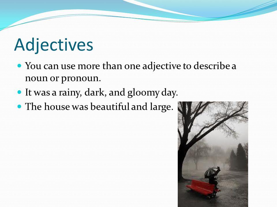 Adjectives You can use more than one adjective to describe a noun or pronoun.