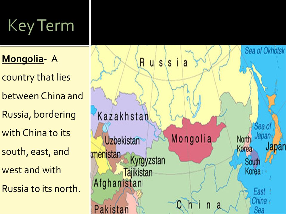 Key Term Genghis Khan- The ambitious and terrifying warrior originally named Temujin who united the nomads of Mongolia and conquered a vast Asian empire.