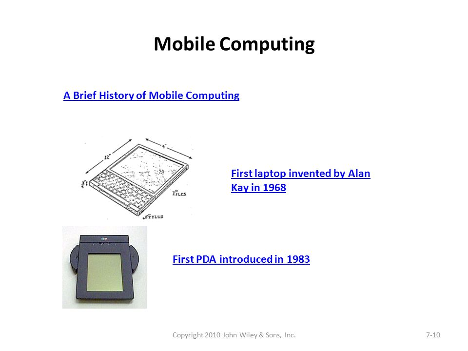Mobile Computing Copyright 2010 John Wiley & Sons, Inc.7-10 A Brief History of Mobile Computing First laptop invented by Alan Kay in 1968 First PDA introduced in 1983