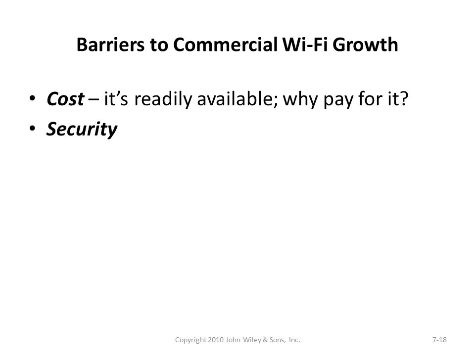 Barriers to Commercial Wi-Fi Growth Cost – it's readily available; why pay for it? Security Copyright 2010 John Wiley & Sons, Inc.7-18