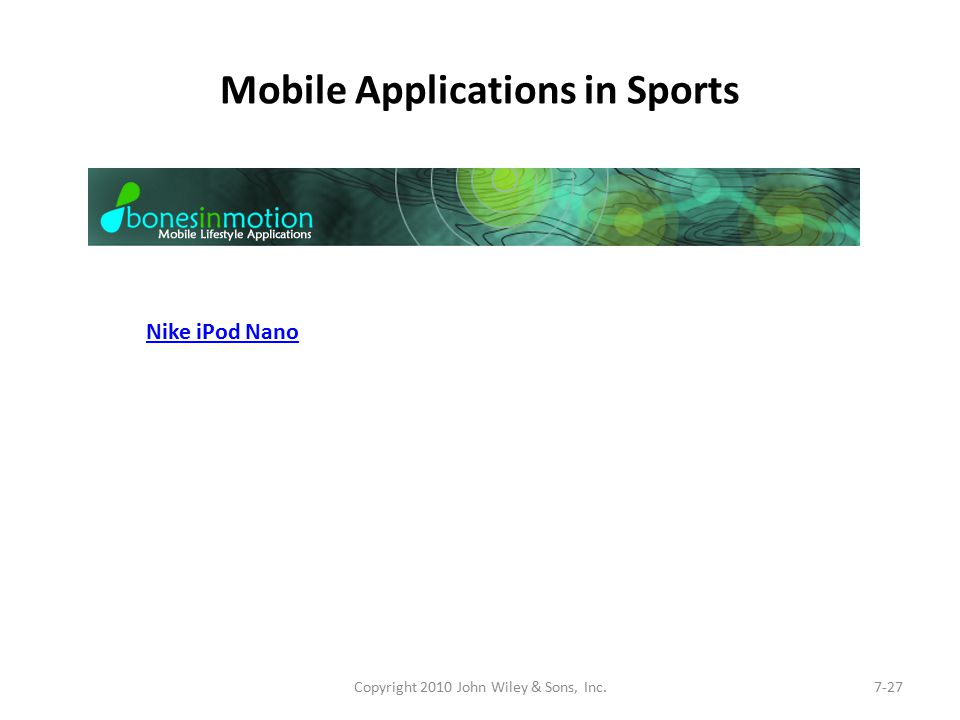 Mobile Applications in Sports Copyright 2010 John Wiley & Sons, Inc.7-27 Nike iPod Nano