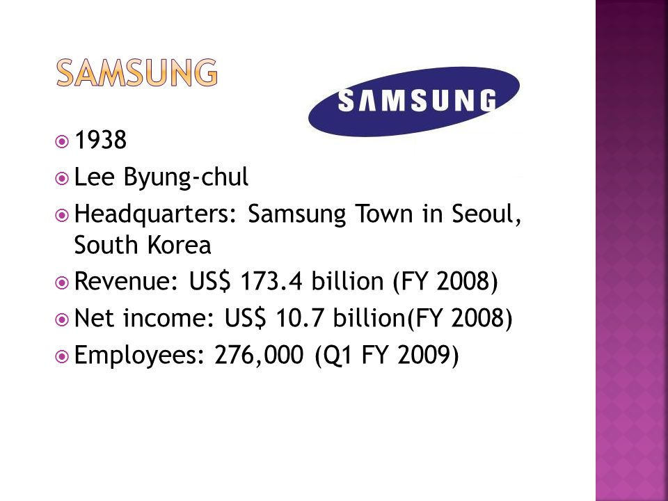  1938  Lee Byung-chul  Headquarters: Samsung Town in Seoul, South Korea  Revenue: US$ 173.4 billion (FY 2008)  Net income: US$ 10.7 billion(FY 2008)  Employees: 276,000 (Q1 FY 2009)