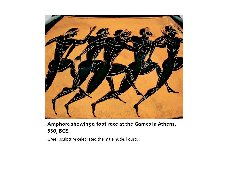 Amphora showing a foot-race at the Games in Athens, 530, BCE.